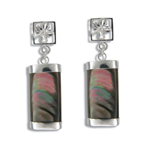 Sterling Silver Cut-In Plumeria with Long Bar Shaped Black MOP (Mother of Pearl Shell) Earrings