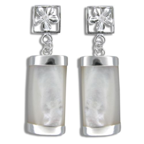 Sterling Silver Cut-In Plumeria with Long Bar Shaped White MOP (Mother of Pearl Shell) Earrings
