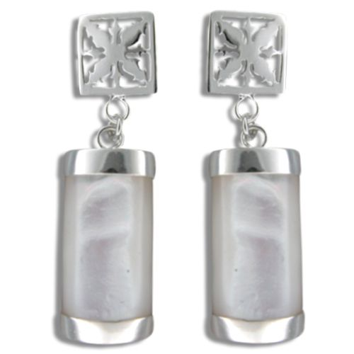 Sterling Silver Hawaiian Pineapple Quilt with MOP (Mother of Pearl Shell) Earrings