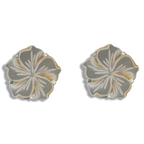 Sterling Silver Hawaiian Plumeria 18mm MOP (Mother of Pearl Shell) Earrings