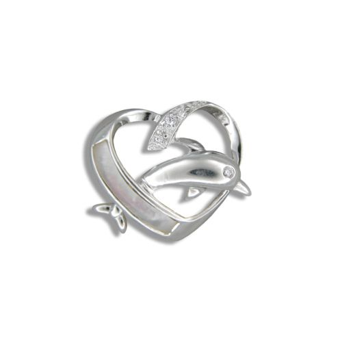 Sterling Silver Hawaiian MOP (Mother of Pearl Shell) Dolphin in Heart Pendant