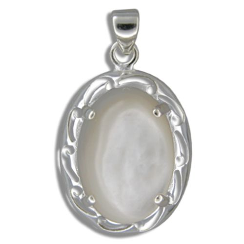 Sterling Silver Oval Shaped MOP (Mother of Pearl Shell) with Cut In Waves Design Pendant