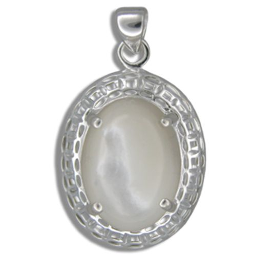 Sterling Silver Cut-In Chinese Pattern Design with Oval Shaped MOP (Mother of Pearl Shell) Pendant