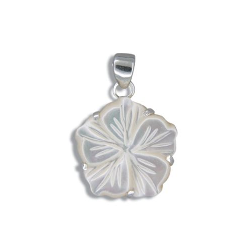 Sterling Silver Hawaiian Plumeria 18mm MOP (Mother of Pearl Shell) Pendant