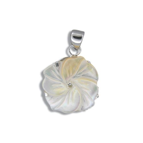 Sterling Silver Hawaiian Plumeria 18mm MOP (Mother of Pearl Shell) with CZ Pendant