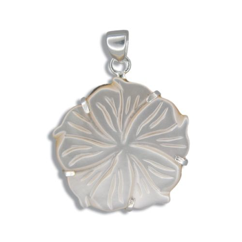 Sterling Silver Hawaiian Plumeria 25mm MOP (Mother of Pearl Shell) Pendant