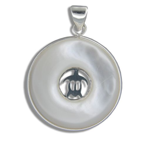Sterling Silver Hawaiian Honu with Round Shaped MOP (Mother of Pearl Shell) Pendant