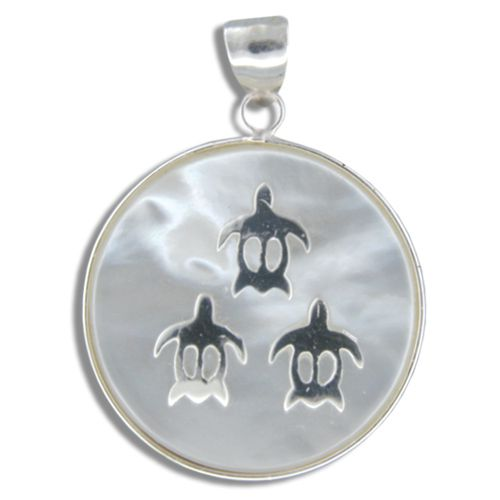 Sterling Silver Hawaiian Honu on Round Shaped MOP (Mother of Pearl Shell) Pendant