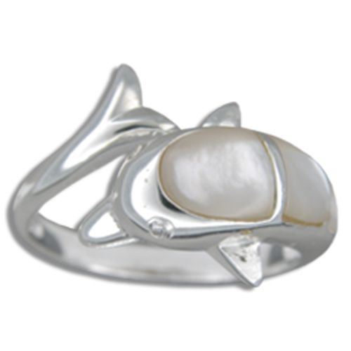 Sterling Silver MOP (Mother of Pearl Shell) Hawaiian Jumping Dolphin Ring