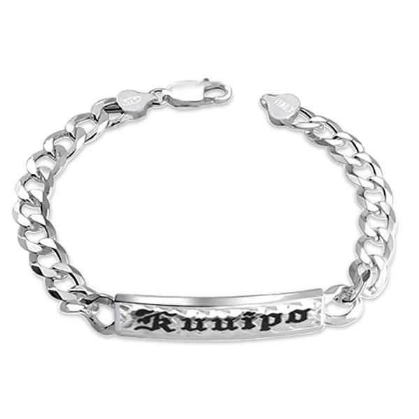 Sterling Silver Curb Link ID Bracelet with Custom Name