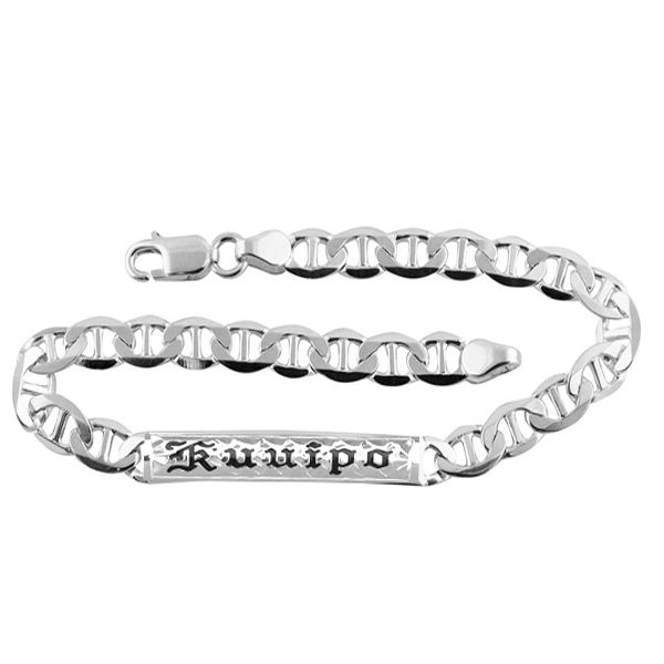 Sterling Silver Flat Marina Link ID Bracelet with Custom Name