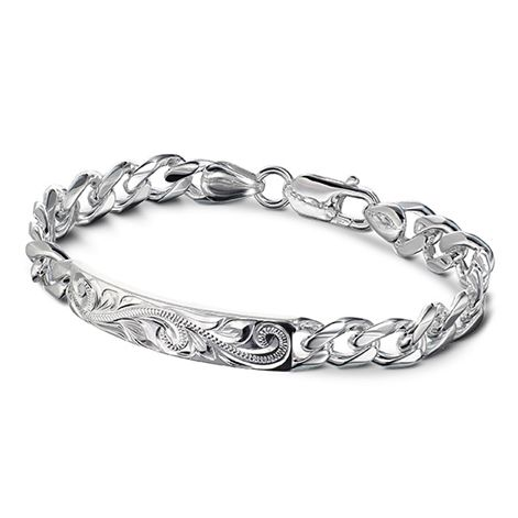 Sterling Silver Curb ID Bracelet with Scroll design