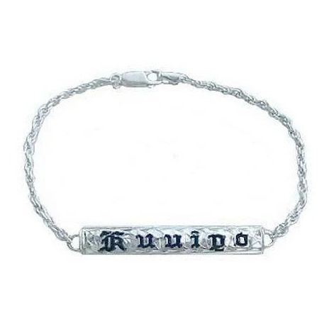 Kids Sterling Silver Hawaiian ID Bracelet with Custom Name in black Enamel