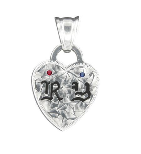 Sterling Silver Hawaiian Double Initial Heart Pendant with Birthstones
