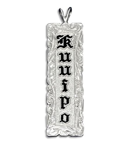 Sterling Silver Name Drop Hawaiian Pendant with Hand Carved Scroll Cut-out Edges
