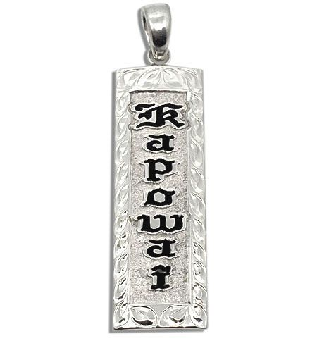 Sterling Silver Name Drop Hawaiian Pendant with Maile Leis Design