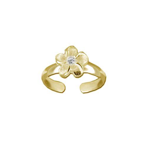 14kt Yellow Gold Hawaiian 7mm Plumeria Flower Toe Ring