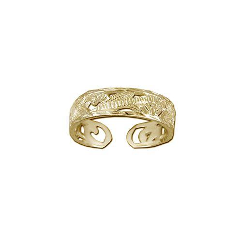 14kt Gold Hawaiian 5mm Cut-in Plumeria Scroll Toe Ring