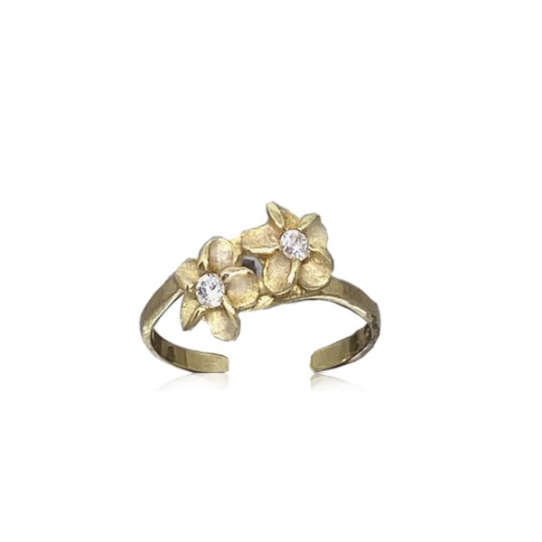 14kt Yellow Gold Double Hawaiian Plumeria Flower Toe Ring