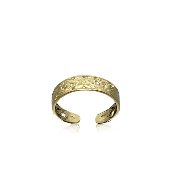 14kt Gold Hawaiian Cut-in Plumeria Scroll Toe Ring