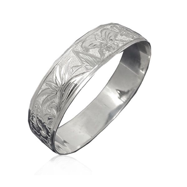 Sterling Silver Hawaiian Custom Made  Bangle with Premium Flowers of Hawaii Design