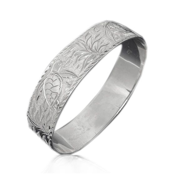 Sterling Silver Hawaiian Custom Made  Bangle with Sea Turtles of Hawaii Design
