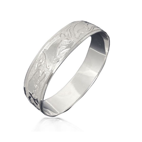 Sterling Silver Hawaiian Custom Made  Bangle with Sea Life of Hawaii Design