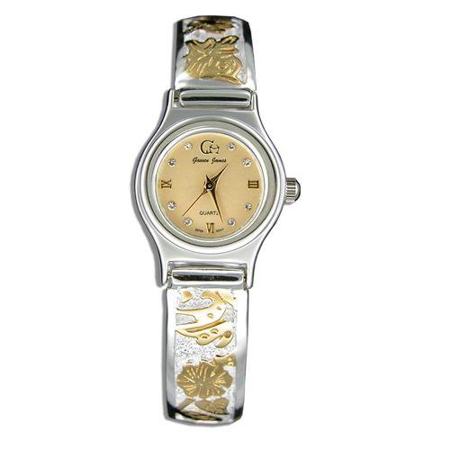 Sterling Silver Two Tone Hawaiian Design Watch