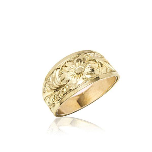 14KT Gold Hawaiian Plumeria  Scroll Tapered Ring