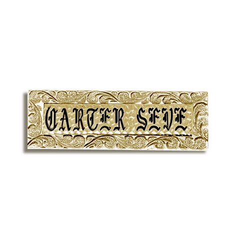 14K Yellow Gold Hawaiian Scroll Custom Rectangle Name Plate
