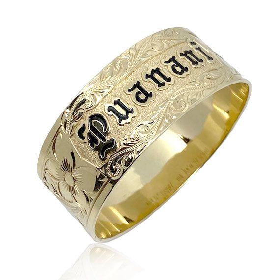 14K Yellow Heavy Gold Custom Hawaiian Bangle Bracelet with Plumeria  Design
