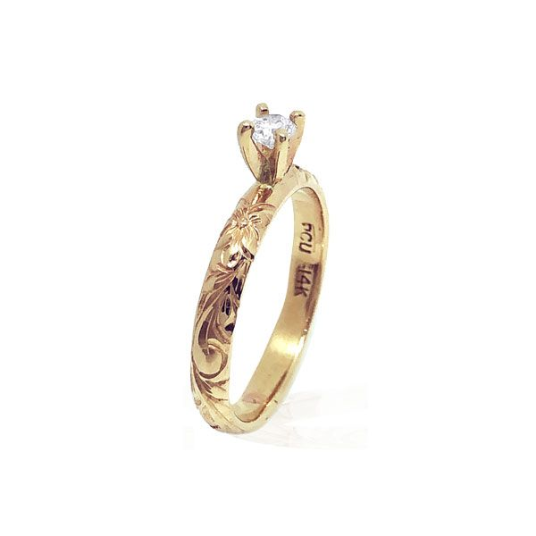14KT Yellow Gold Diamond Hawaiian Engagement Ring