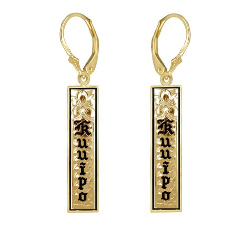 14K Yellow Gold Custom Hawaiian Lever Back Earrings Black Border and Plumeria