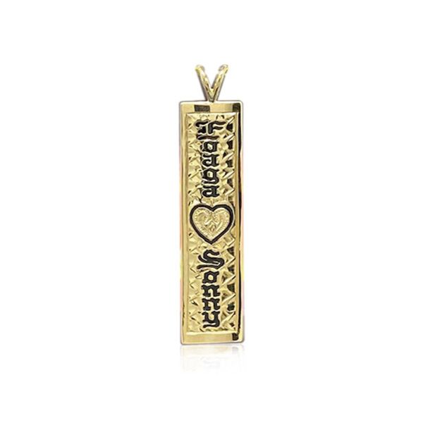 14K Yellow Gold Custom Hawaiian Vertical Pendant with Heart and Two Names
