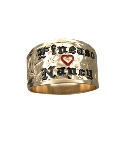 14KT Yellow Gold Custom 20mm Hawaiian Tapered Ring