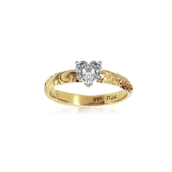 14KT Gold Hawaiian Engagement Ring with Heart shape Cubic Zirconia