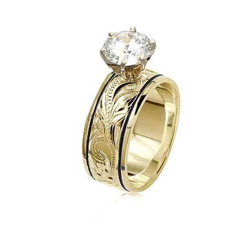 14K Yellow Gold Custom Hawaiian Black Border Scroll Ring with Round Stone