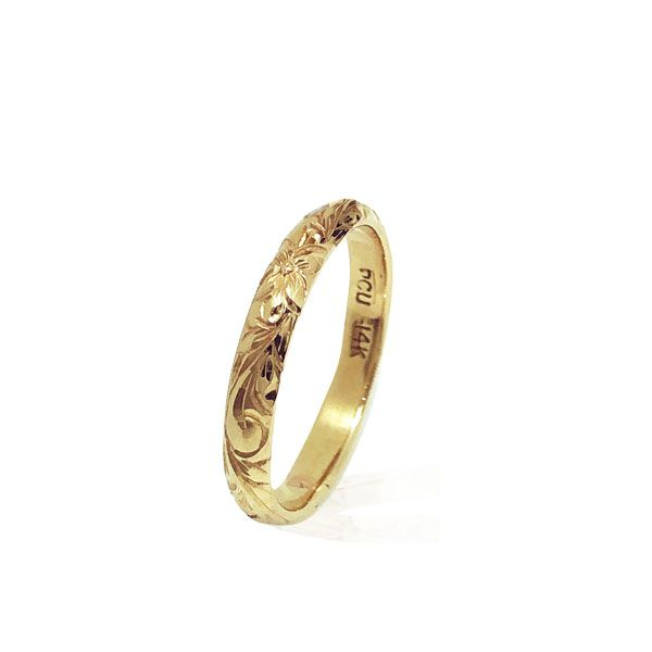 14KT Yellow Gold Hawaiian Wedding Ring Band