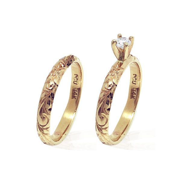 14KT Yellow Gold  Diamond Hawaiian Engagement and Wedding Ring Set
