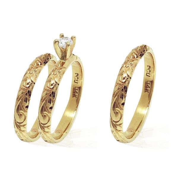 14KT Yellow Gold Diamond Hawaiian Engagement and Two Wedding Rings Set
