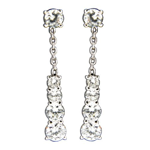 Sterling Silver Clear CZ with Dangling Triangle Drop Earrings