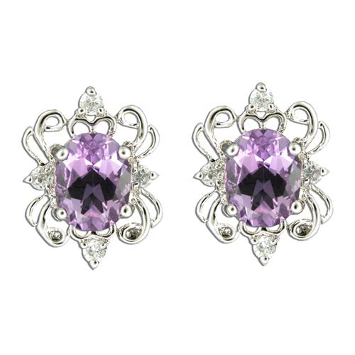 Sterling Silver Double Crown Design with Clear and Amethyst Purple CZ Post Earrings