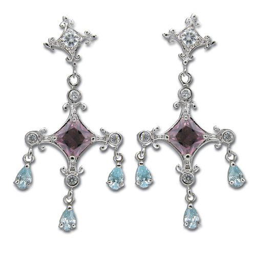 Sterling Silver Double Cross with Aquamarine Blue CZ and Tourmaline Purple CZ Earrings