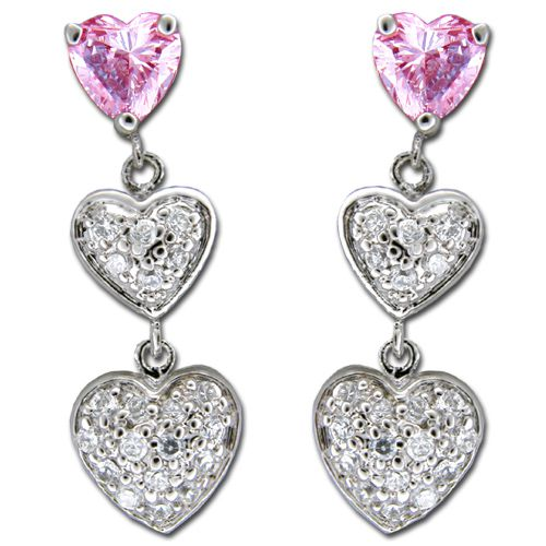 Sterling Silver Triple Heart with Clear and Pink Tourmaline CZ Drop Earrings