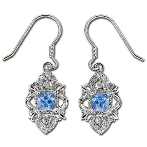 Sterling Silver Badge Design with Square-Cut Sapphire Blue CZ Earrings