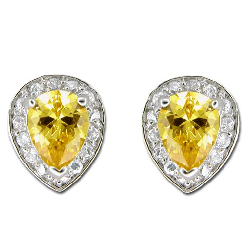 Sterling Silver Teardrop Shaped Citrine Yellow CZ with Channel Set Clear CZ Earrings