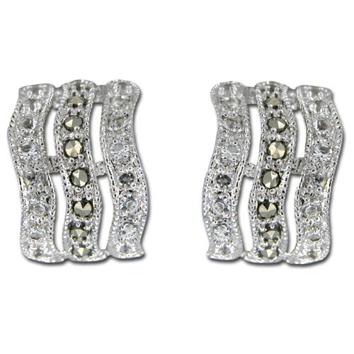 Sterling Silver Curved Triple Swirl with Channel Set Clear CZ Earrings