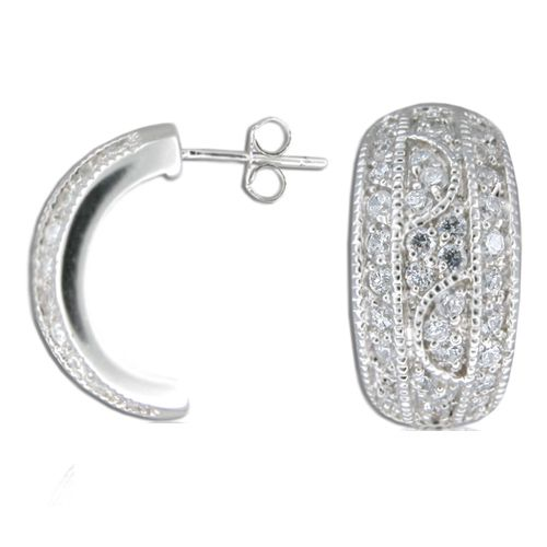Sterling Silver Half-Hoop Clear CZ Earrings