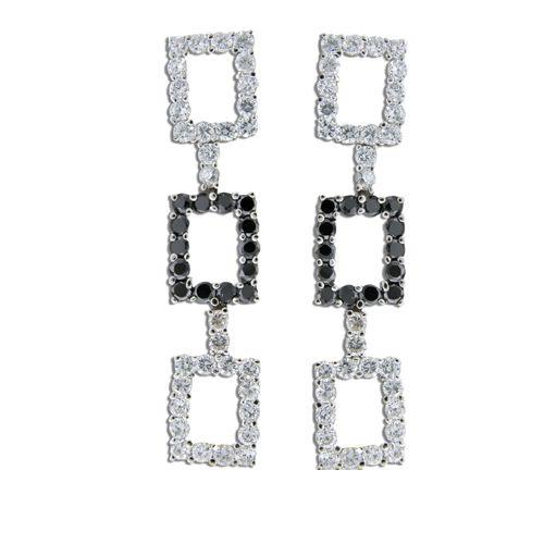 Sterling Silver Triple Open Rectangles with Channel Set Clear and Black CZ Drop Earrings