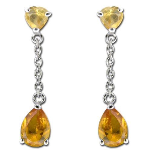 Sterling Silver Heart with Citrine Yellow CZ Dangling Earrings